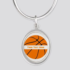 Basketball Personalized Silver Oval Necklace