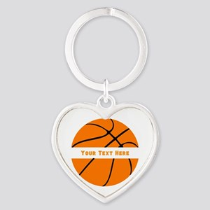 Basketball Personalized Heart Keychain