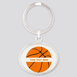 Basketball Personalized Oval Keychain