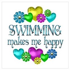 Swimming Happiness Wall Art Poster