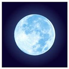 Blue Full Moon Wall Art Poster