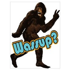 Bigfoot Yeti Sasquatch Wassup Wall Art Framed Print