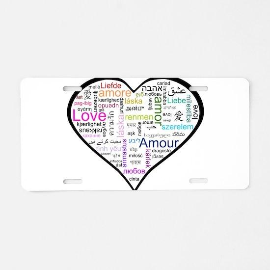 Heart Love in different langu Aluminum License Pla