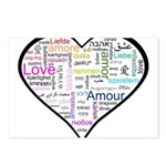 Heart Love in different langu Postcards (Package o