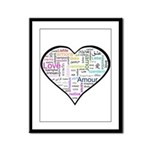 Heart Love in different langu Framed Panel Print