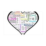 Heart Love in different langu 38.5 x 24.5 Wall Pee