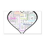 Heart Love in different langu 22x14 Wall Peel