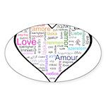 Heart Love in different langu Sticker (Oval 50 pk)