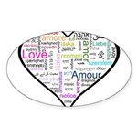 Heart Love in different langu Sticker (Oval 10 pk)