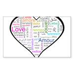 Heart Love in different langu Sticker (Rectangle)