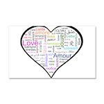 Heart Love in different langu Car Magnet 20 x 12
