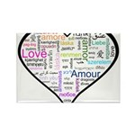 Heart Love in different langu Rectangle Magnet (10
