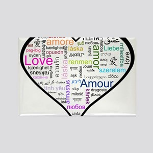 Heart Love in different langu Rectangle Magnet