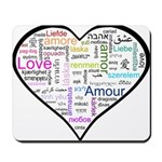 Heart Love in different langu Mousepad