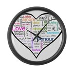 Heart Love in different langu Large Wall Clock