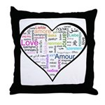 Heart Love in different langu Throw Pillow