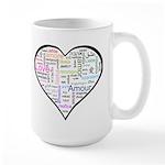 Heart Love in different langu Large Mug