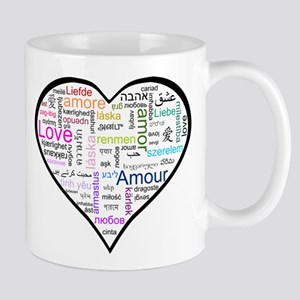 Heart Love in different langu Mug