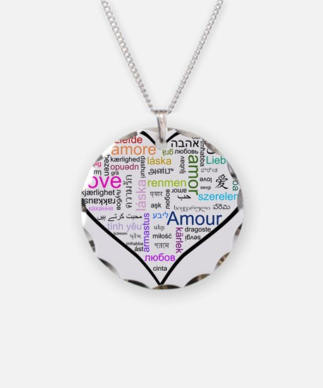Heart Love in different langu Necklace Circle Char