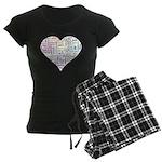 Heart Love in different langu Women's Dark Pajamas