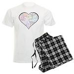 Heart Love in different langu Men's Light Pajamas