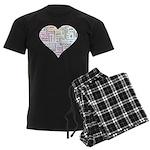 Heart Love in different langu Men's Dark Pajamas
