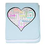 Heart Love in different langu baby blanket