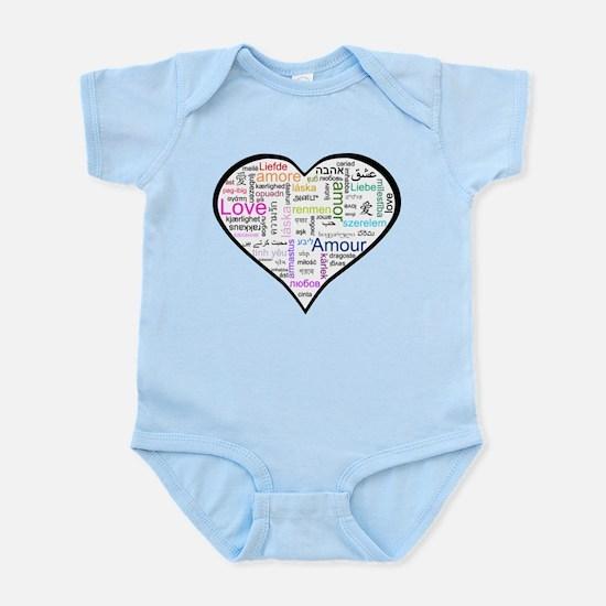 Heart Love in different langu Infant Bodysuit