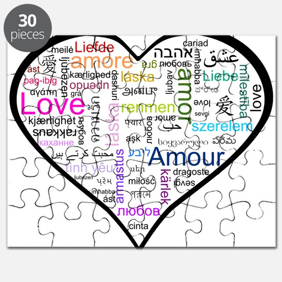 Heart Love in different langu Puzzle