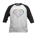 Heart Love in different langu Kids Baseball Jersey