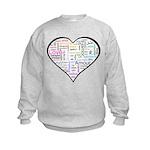 Heart Love in different langu Kids Sweatshirt