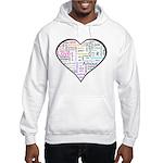 Heart Love in different langu Hooded Sweatshirt