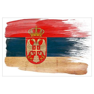 Serbia Flag Wall Art Poster