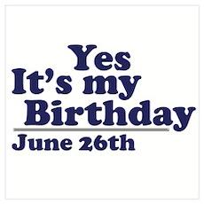 June 26 Birthday Wall Art Poster