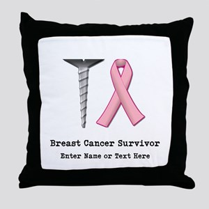 Customizable SCREW BREAST CAN Throw Pillow