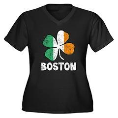 Boston Irish Women's Plus Size V-Neck Dark T-Shirt