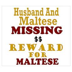 Husband & Maltese Missing Wall Art Poster