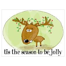 Jolly Reindeer Wall Art Poster