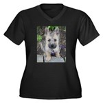 "Cairn Terrier ""Emma"" Women's Plus Size V-Neck Dark"