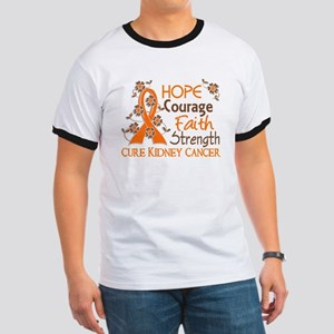 Hope Courage Faith 3 Kidney Cancer Ringer T