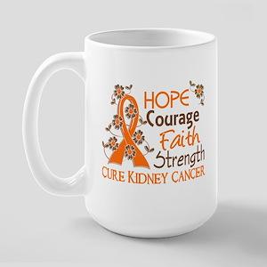 Hope Courage Faith 3 Kidney Cancer Large Mug
