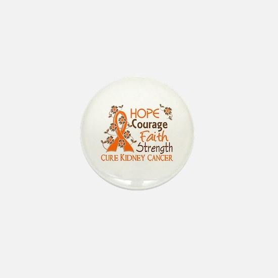 Hope Courage Faith 3 Kidney Cancer Mini Button