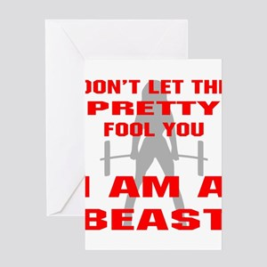 Bodybuilding greeting cards cafepress female i am a beast greeting cards m4hsunfo