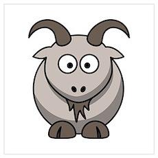 Cartoon Goat Wall Art Poster