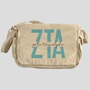 Zeta Tau Alpha Blue Polka Dot Messenger Bag