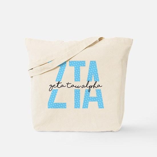 Zeta Tau Alpha Blue Polka Dot Tote Bag