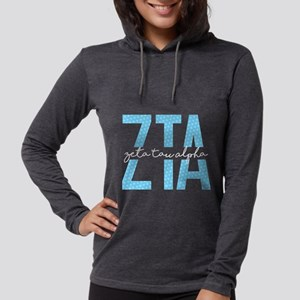 Zeta Tau Alpha Blue Polka Dot Womens Hooded T-Shir