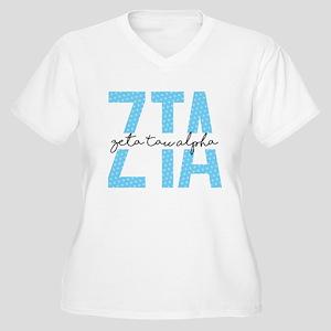 Zeta Tau Alpha Blue Polka Dot Plus Size T-Shirt