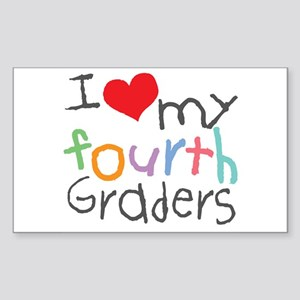 I Love My 4th Graders Rectangle Sticker
