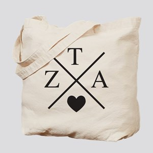 Zeta Tau Alpha ZTA Sorority Heart Cross Tote Bag